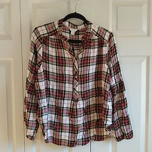 Intro light weight Plaid shirt balloon sle Size XL